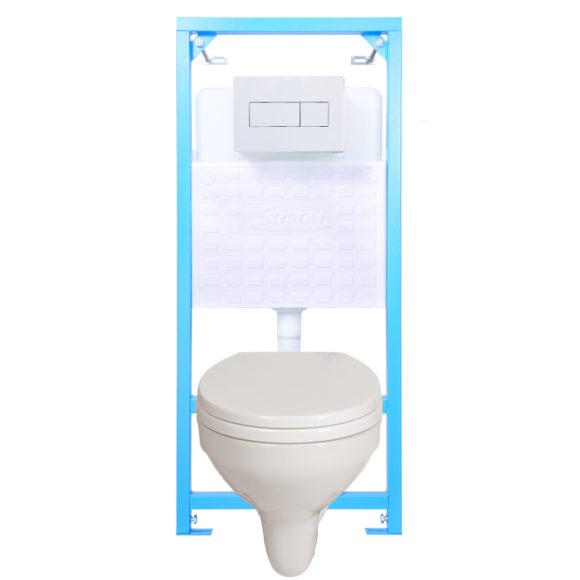 E-03: STY-740 NIAGARA FIX beépíthető WC tartály + fehér nyomólap + WC fajansz