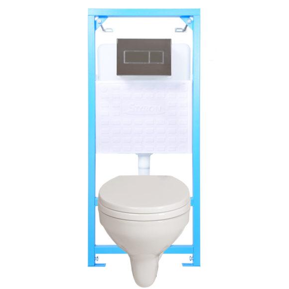 E-04: STY-740 NIAGARA FIX WC tartály + STY-800-2 króm nyomólap + WC fajansz + lecsapódás gátlós WC ülőke