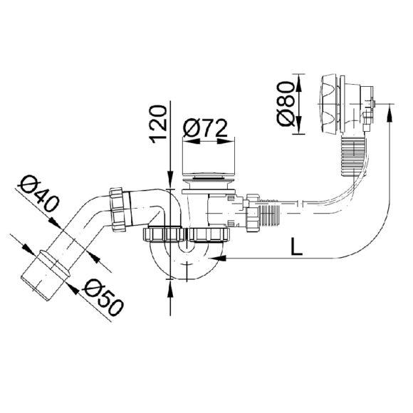 STY-536-A-K automata kádszifon, krómozott