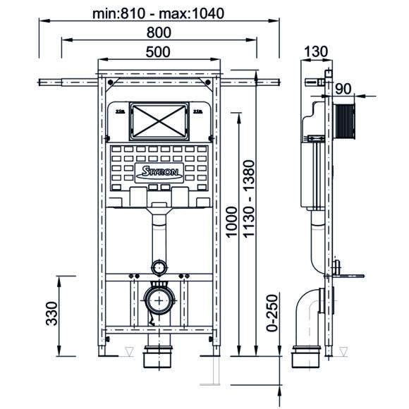 STY-742 NIAGARA FIX PLUS WC tartály - oldalfali rögzítéssel