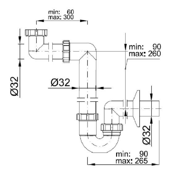 STY-641-32-2 helytakarékos csőszifon