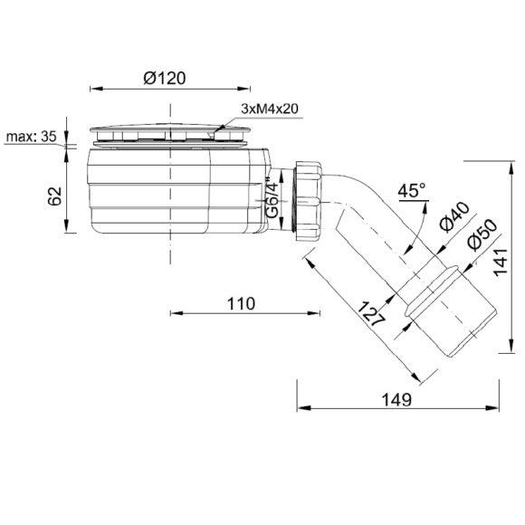 STY-ZA-90-K alacsony zuhanytálcaszifon